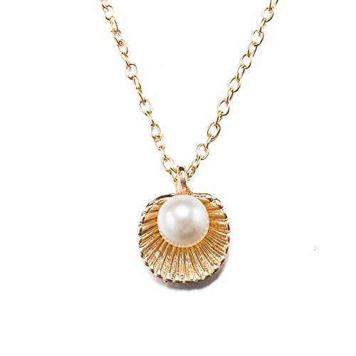 Alipeia Shell and Pearl Link Chain Pendant Necklace for Women (Shell Chain)