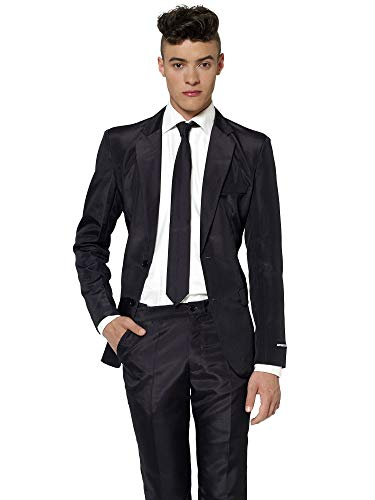 Suitmeister Solid Colored Suits - Black - Includes Jacket, Pants & TiE]()
