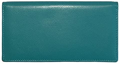 Aqua RFID Leather Checkbook Cover With Credit Card Slots and Pen Holder - Turquoise Tear