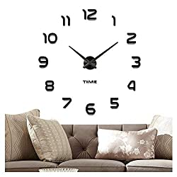 Vangold Frameless DIY Wall Clock, 2-Year Warranty 3D Mirror Wall Clock Large Mute Wall Stickers for Living Room Bedroom Home Decorations (Black-42)