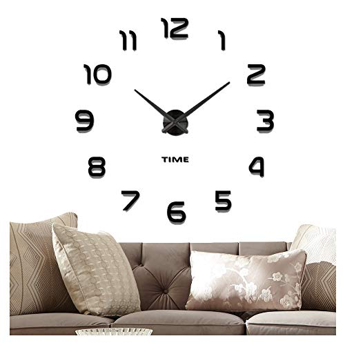 Y Wall Clock, 2-Year Warranty 3D Mirror Wall Clock Large Mute Wall Stickers for Living Room Bedroom Home Decorations (Black-42) ()