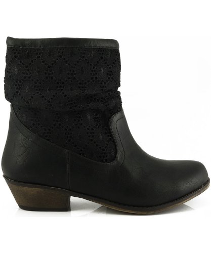 19 Contrast Trio Western Black Ankle Boot Lace Qupid Cowboy ZqBWxw5qH