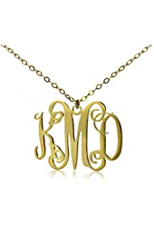 """Huan XUN Initial Monogram Necklace for Best Friend 14k Gold Plated Stainless Steel, 16+2"""" Extender"""