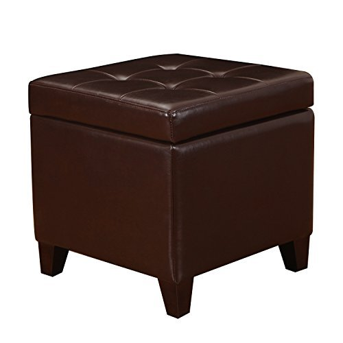 Adeco FT0009 Bonded Leather Square Tufted Footstool, 18