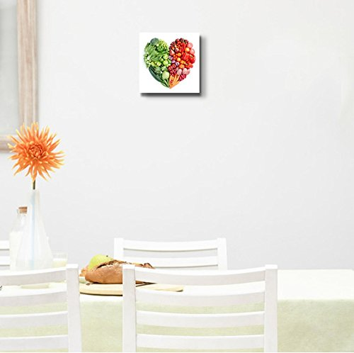 Heart Shape Formed by Various Vegetables and Fruits Wall Decor