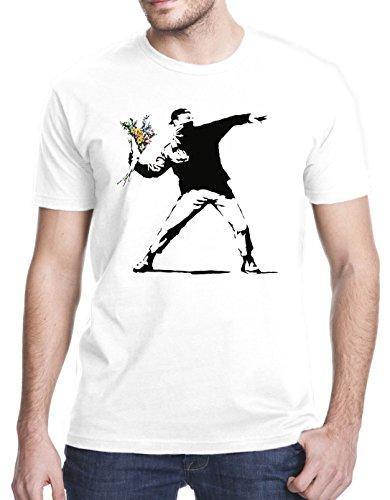 - Gbond Apparel Banksy Flower Thrower T-Shirt, XL, White