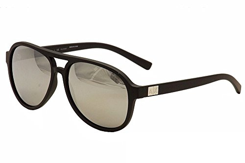 Armani Exchange Mens Sunglasses (AX4055) Black Matte/Silver Plastic - Polarized - - Aviator Sunglasses Armani