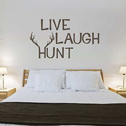 Live Laugh Hunt Vinyl Hunting Wall Decal Deer Wall Sticker Antlers Wall Decal Wall Graphic Mural Home Art Decoration Black