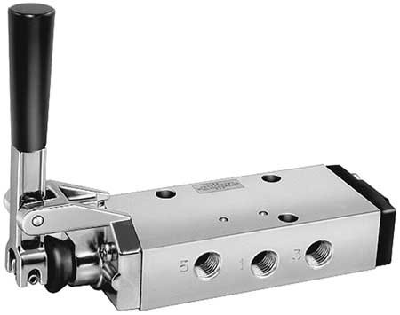 Parker Hannifin 422CR023W Series 42 Anodized Aluminum Pneumatic Manual Lever Valve, 3-Position Single Pressure/All Ports Blocked, Detented, Inline Perpendicular, 3/8'' NPT Port Size