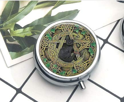 Black Cat Wicca Pendant Necklace Pentagram Wiccan Pill Box/Pill case-Round Pill Box/case- Three-Compartment Pill Box/Pill case Everyday Gift Key Chain