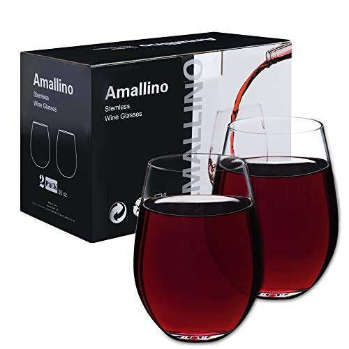 Swirl Beads Plastic - Stemless Wine Glasses by Amallino , 20- Ounce, for Red or White Wine | Clear Glass Tumblers for Water, Whisky, Juice, Mixed Drinks | Set of 2 | Dishwasher Safe | Daily-use, Bar, Holiday, Party