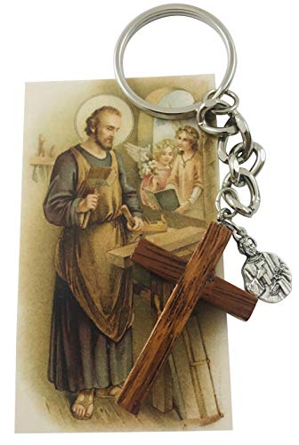 St Joseph The Worker Home Protection Set with Key Chain and Holy Card