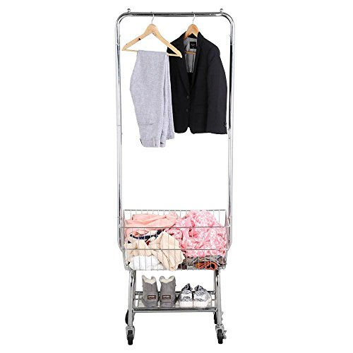 Yaheetech Laundry Cart Commercial Laundry Cart Rolling Wheeled Laundry Cart with Double Pole Rack Silver, G.W.: 21.3 Lb