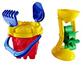 Hemar 49 Castle Bucket with 5 Elements Sand and Water Mill Set, 23 x 19 x 45 cm