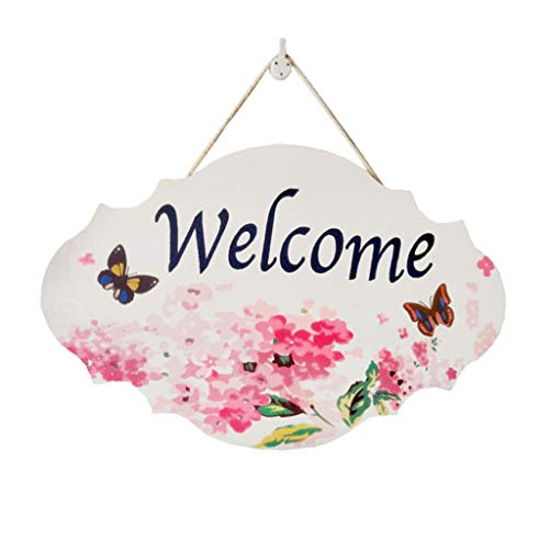 Summer Cute Wooden Welcome Sign for Front Door Decor Hanging with Lovely, Simple, Rustic Style Tree and Flower, Suit for Decorating Family Porch, Wedding Decor, Bar, Cafe, Shop Store, DIY Decor (A)