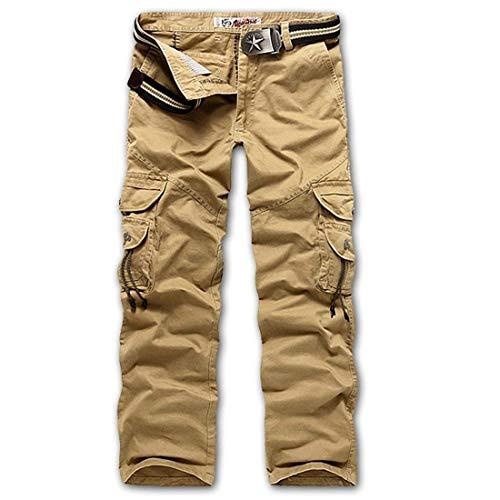 Adelina Pantaloni Da Lavoro Uomo Lunghi Abbigliamento Casual Con In Cotone Nero Khaki