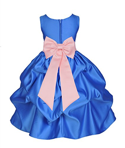- ekidsbridal Royal Blue Satin Bubble Pick-Up Flower Girl Dresses Graduation Dresses 208T M