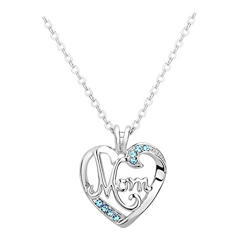 Bling Stars MOM Word Engraved Crystal Heart Love Pendant Necklace