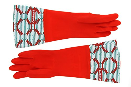 Cuisinart Cleaning Rubber Gloves, Waterproof, 100% Latex, Durable and Long Lasting- 1 Pair- Red (Long Lasting Hand Wash)