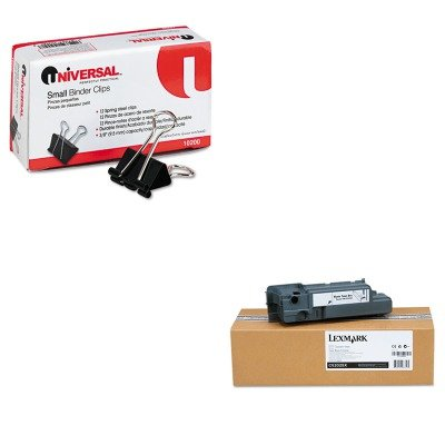 KITLEXC52025XUNV10200 - Value Kit - Lexmark Waste Toner Box for C520/C522/C524 (LEXC52025X) and Universal Small Binder Clips (UNV10200) C520n C522 C524 Waste Toner