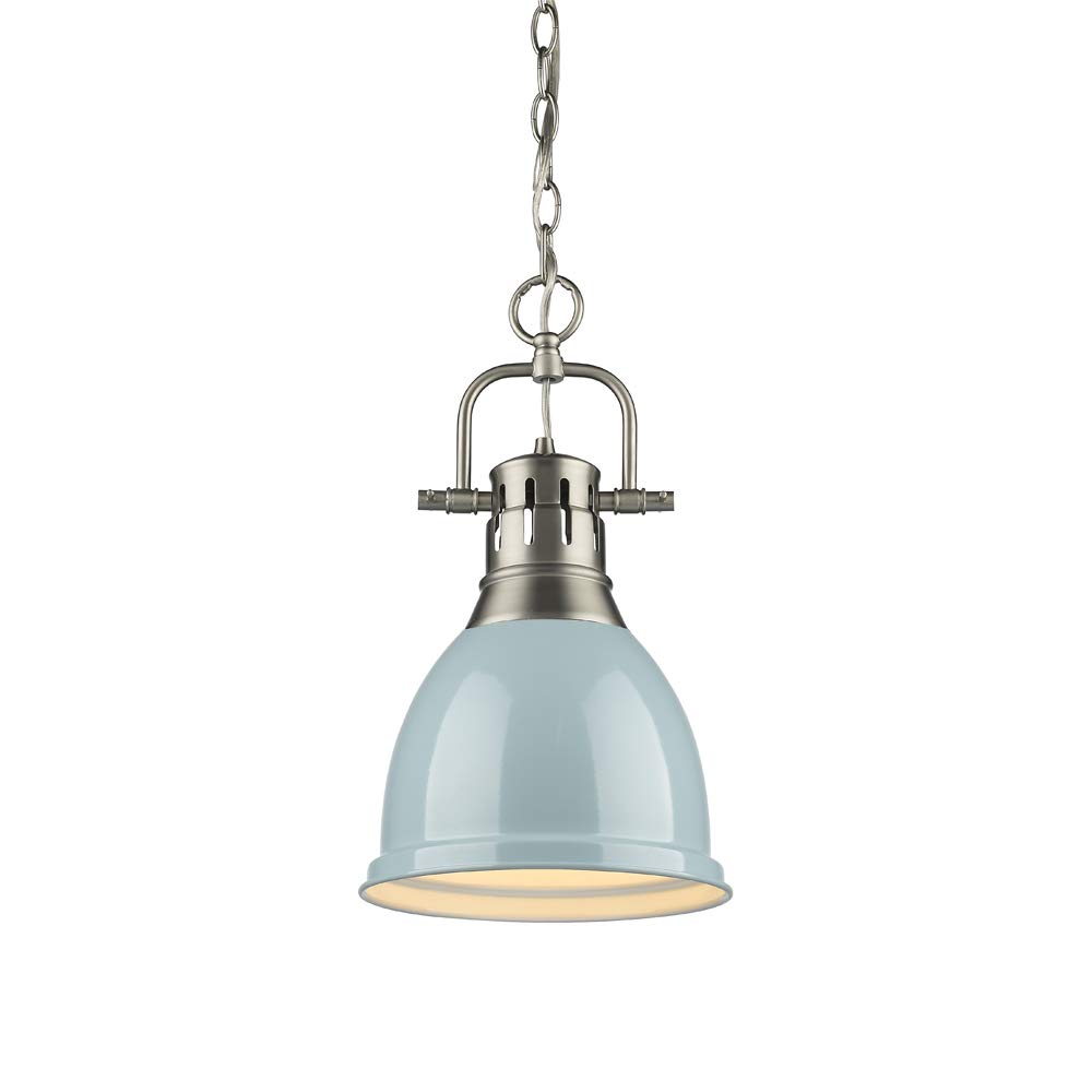 Golden Lighting 3602-S PW-SF One Light Mini Pendant, Slvr