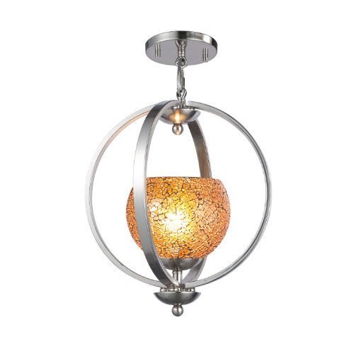 Woodbridge Lighting 13923STN-M00AMB Geo 1-Light Mid Pendant, Satin - Geo Pendant Nickel