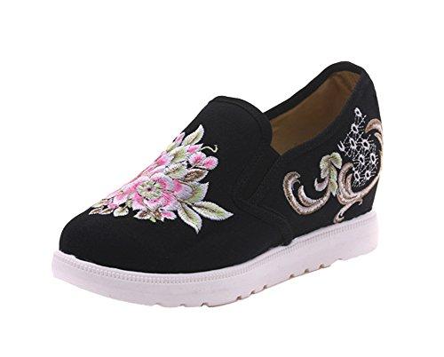 Avacostume Femmes Fleurs Broderie Augmenter Wedge Casual Chaussures Slip-on Noir