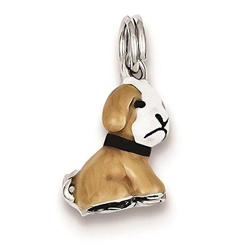 - 925 Sterling Silver 3-D Enamel Dog Polished Charm Pendant