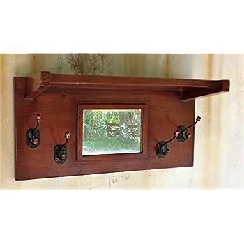 Urnporium Solid Mahogany Wood Wall Mounted Mirror Coat Rack, 4 mAh