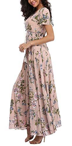 Women's Floral Maxi Dresses Boho Button up Split Beach Party Long Dress (Vintage Floral Dress Plus Size)