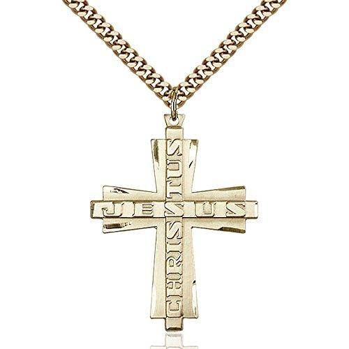 Bliss Gold Filled Jesus Christus Cross Pendant 1 3/8 x 1 ...