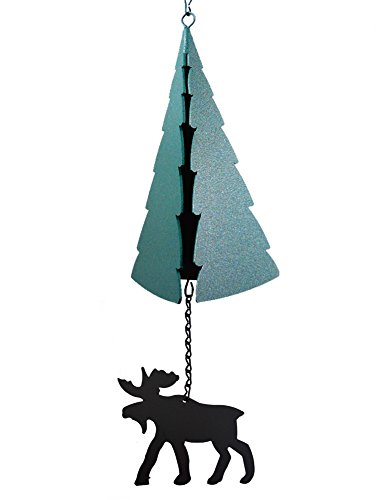 Modern Artisans Forest Bell: American-Made Large 3-Tone Outdoor Wind Bell with Moose Wind Catcher