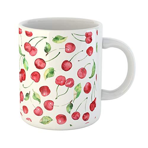 Semtomn Funny Coffee Mug Cherry Watercolor Cherries Fruit Seamless Pattern Print Art Background Banner 11 Oz Ceramic Coffee Mugs Tea Cup Best Gift Or Souvenir