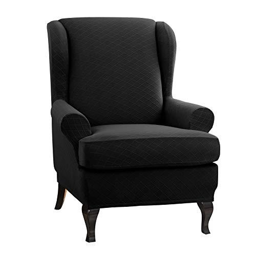 CHUN YI 2-Piece, Wing Chair Rhombus Jacquard Cover, Back Wingback Universal Wing Armchair Slipcovers, Cream White.