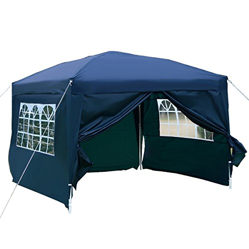 Tangkula 10'X10' EZ POP UP Tent Gazebo Wedding Party Canopy Shelter Carry Bag (Blue)