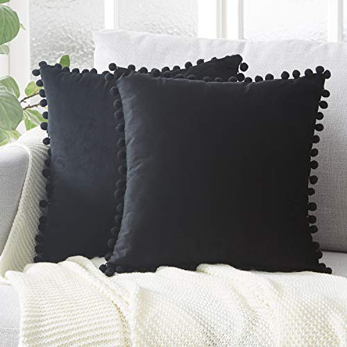 Top Finel Decorative Throw Pillow Covers with Pom Poms Soft Particles Velvet Solid Cushion Covers 18 X 18 for Couch Bedroom Car, Pack of 2, Black (Black Throw Decorative Pillow)