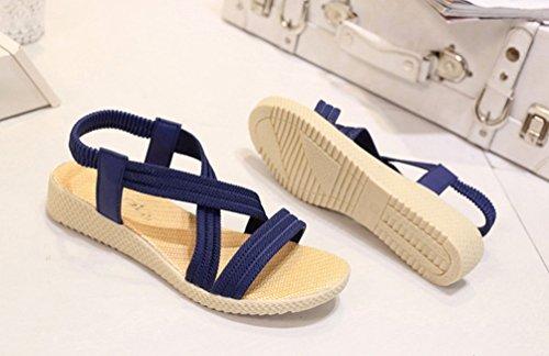 YOUJIA Sandalias del Verano Romanas Bohemia Zapatos de playa Sandalias Plana para Mujeres Azul