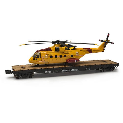 O Gauge Canadian National Flatcar with Canadian Coast Guard Helicopter (National Guard Diecast)