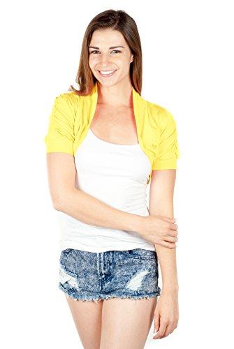 TL Women's Basic Comfy Versatile Short Sleeve Bolero Shrug Cardigan Junior Plus YELLOW