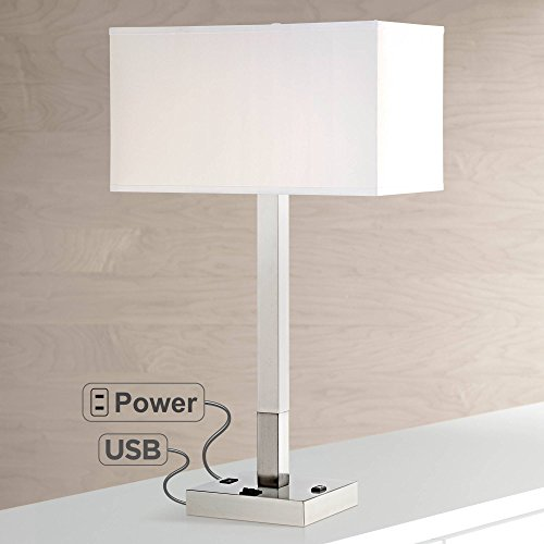 Bryce Modern Table Lamp with Hotel Style USB and AC Power Outlet in Base Metal Column White Rectangular Shade for Living Room - Possini Euro ()