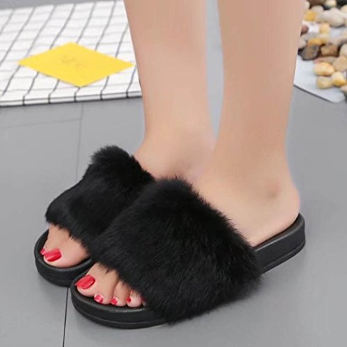 Non Womens Pulison Faux Flop Sandal Flip Fluffy Flat TM Soft Flat Black Slipper slip Fur TUwxtpwq