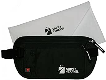 Travel Money Belt with RFID Blocking by Simply4Travel, Premium Slim Fanny Pack and Waist Stash for Everyday Use!