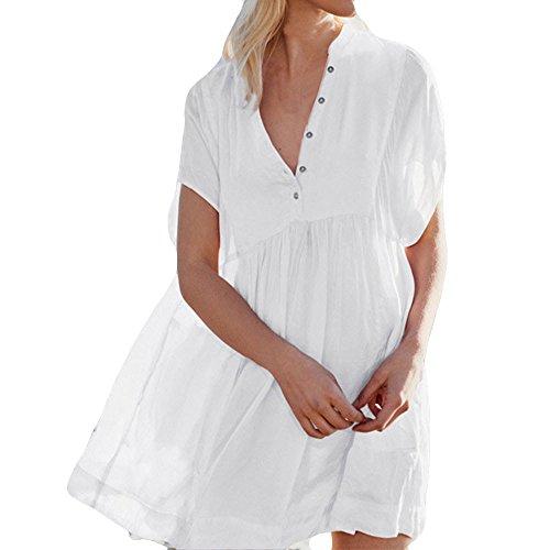 LISTHA Loose Shirt Dress Women Button Short Sleeve Beach Summer Bikini Smock White ()
