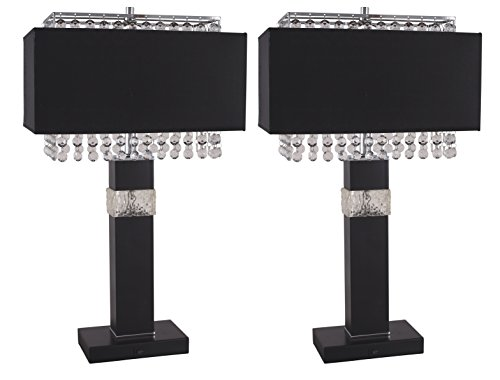 Black Table Column Lamp (Milton Greens Stars A734T-S Rachel Elegant Table Lamp, 26.5-Inch, Set of 2)