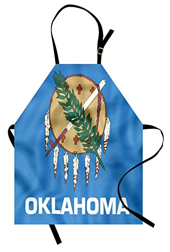 Oklahoma State Apron - Lunarable American Apron, Flag of Oklahoma Ceremonial Pipe Olive Branch 6 Crosses Composition Print, Unisex Kitchen Bib Apron with Adjustable Neck for Cooking Baking Gardening, Azure Blue