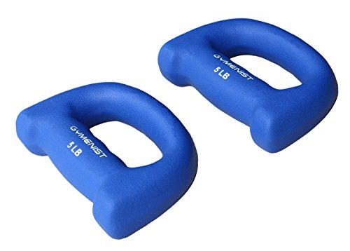 Ziyud Set of 2 Hand Shaped Neoprene Exercise Workout Jogging Walking Cardio Dumbbells Pair (5 Lb. (Blue))