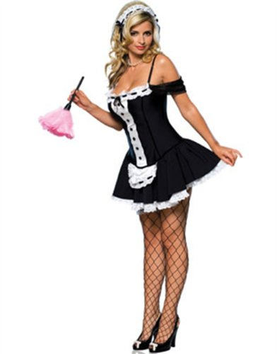 Secret Wishes Sexy Dust Bunny Maid Costume, Black, Large (Womens Sexy French Maid Costume)