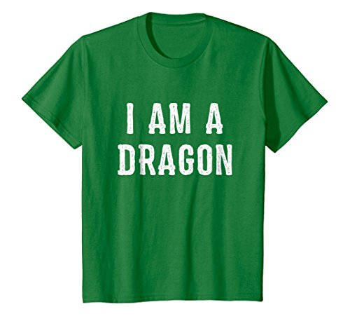 Kids I Am a Dragon Halloween T Shirt Easy Costume Idea 8 Kelly Green ()