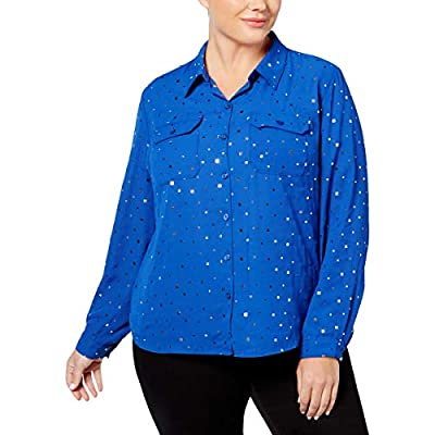 NY Collection Womens Plus Embellished Chiffon Button-Down Top