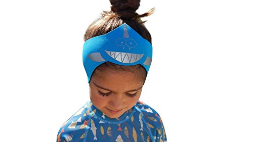 Swim Ear Band ~ Protects Ears with 1 Pair of Mack Silicone Ear Plugs – Helps Keep Water Out & Hold Earplugs In – USA Made with Strong, Sustainable Yamamoto Neoprene, By Sand Soles